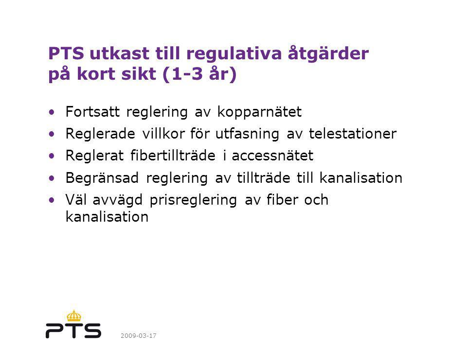 PTS utkast till regulativa åtgärder på kort sikt (1-3 år)