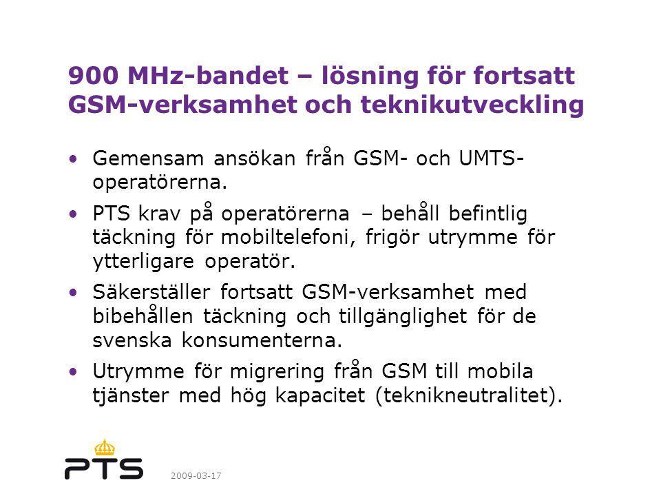 900 MHz-bandet – lösning för fortsatt GSM-verksamhet och teknikutveckling