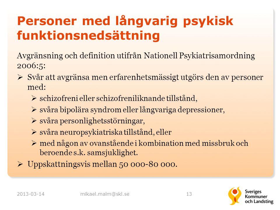 Personer med långvarig psykisk funktionsnedsättning