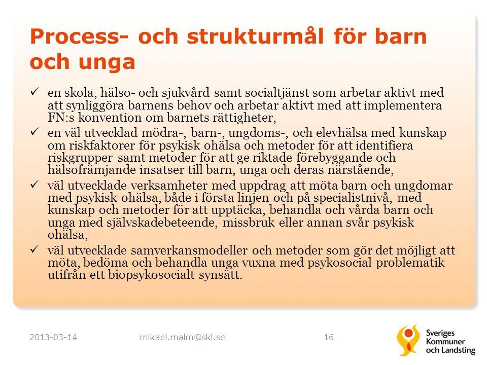 Process- och strukturmål för barn och unga