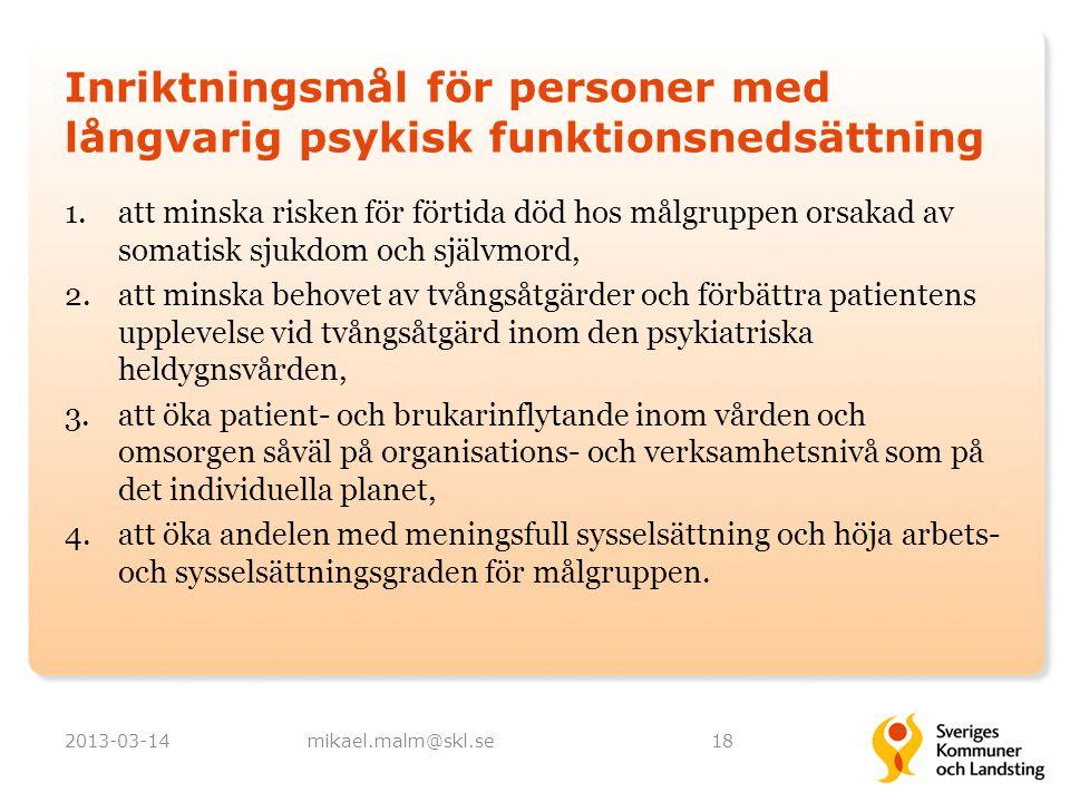 Inriktningsmål för personer med långvarig psykisk funktionsnedsättning