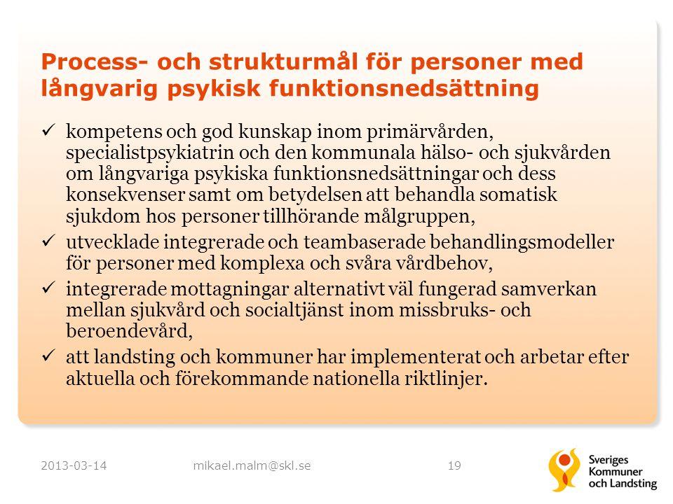 Process- och strukturmål för personer med långvarig psykisk funktionsnedsättning