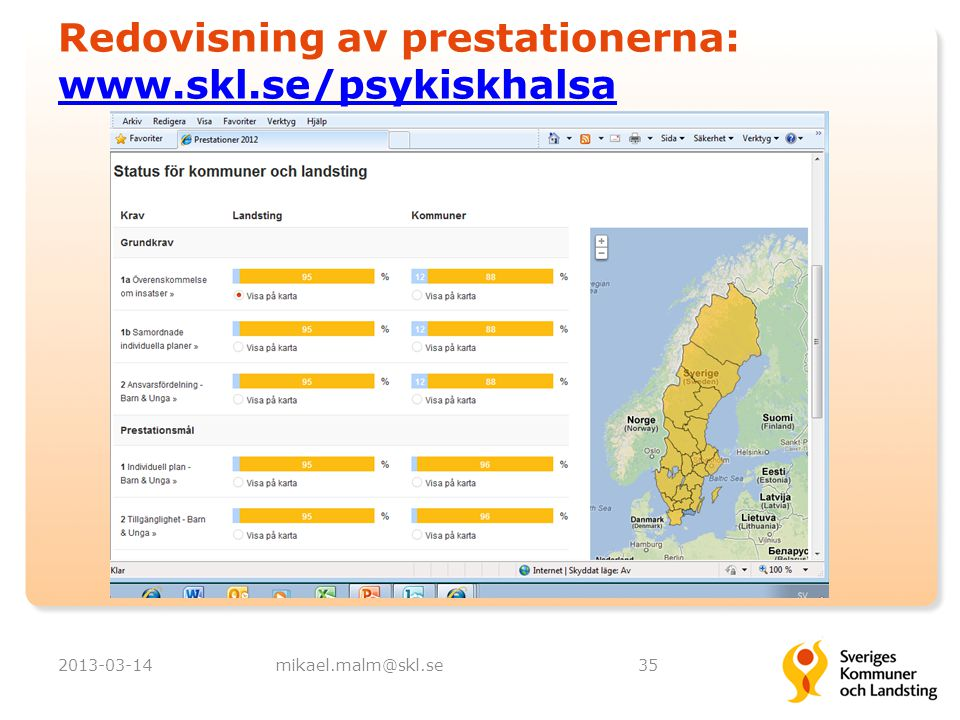 Redovisning av prestationerna: www.skl.se/psykiskhalsa