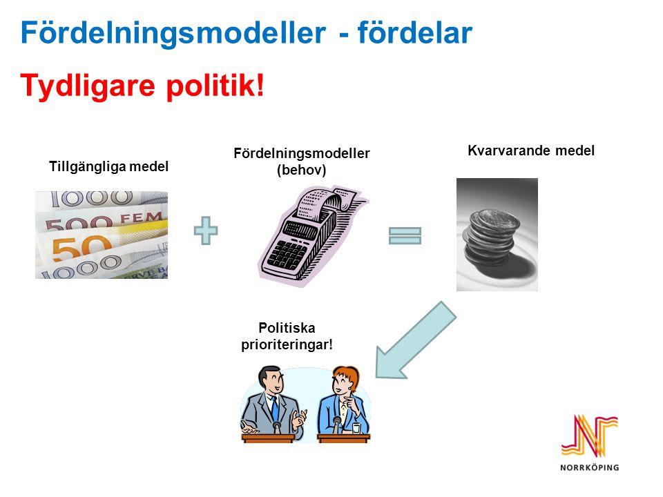 Fördelningsmodeller (behov) Politiska prioriteringar!