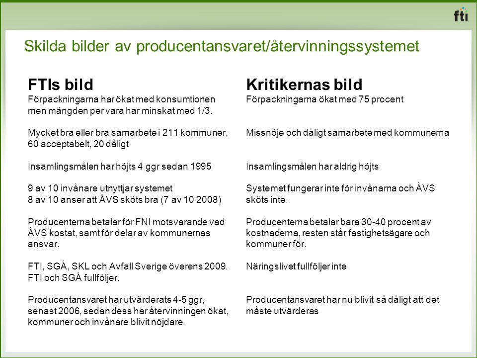 Skilda bilder av producentansvaret/återvinningssystemet