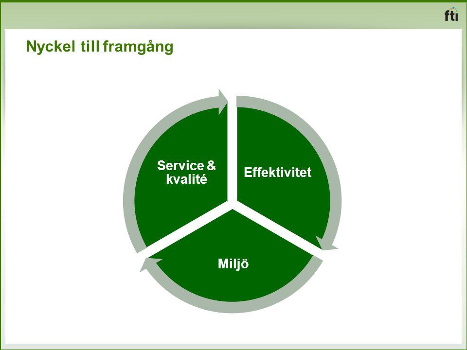 Nyckel till framgång Effektivitet Miljö Service & kvalité
