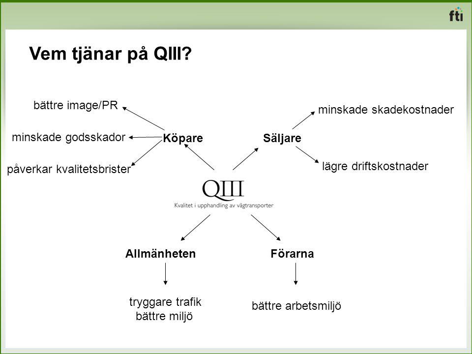 Vem tjänar på QIII bättre image/PR minskade skadekostnader