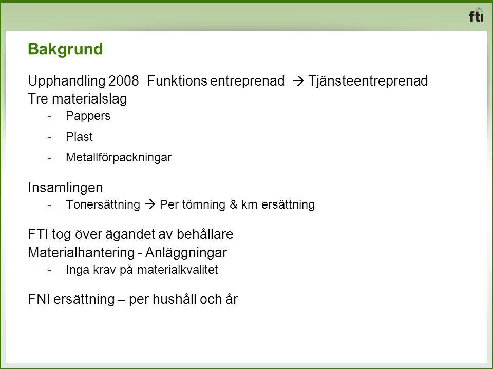 Bakgrund Upphandling 2008 Funktions entreprenad  Tjänsteentreprenad