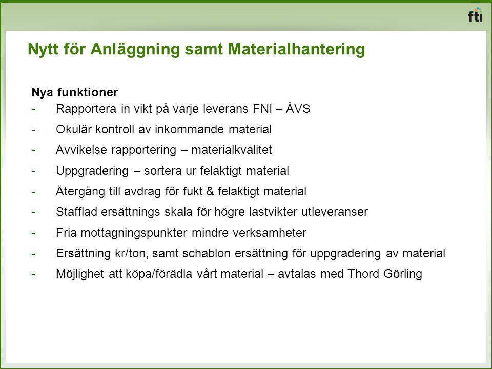 Nytt för Anläggning samt Materialhantering