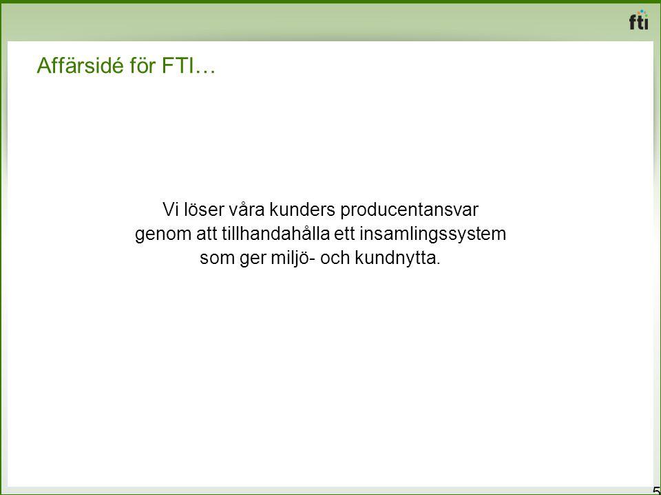 Affärsidé för FTI… Vi löser våra kunders producentansvar