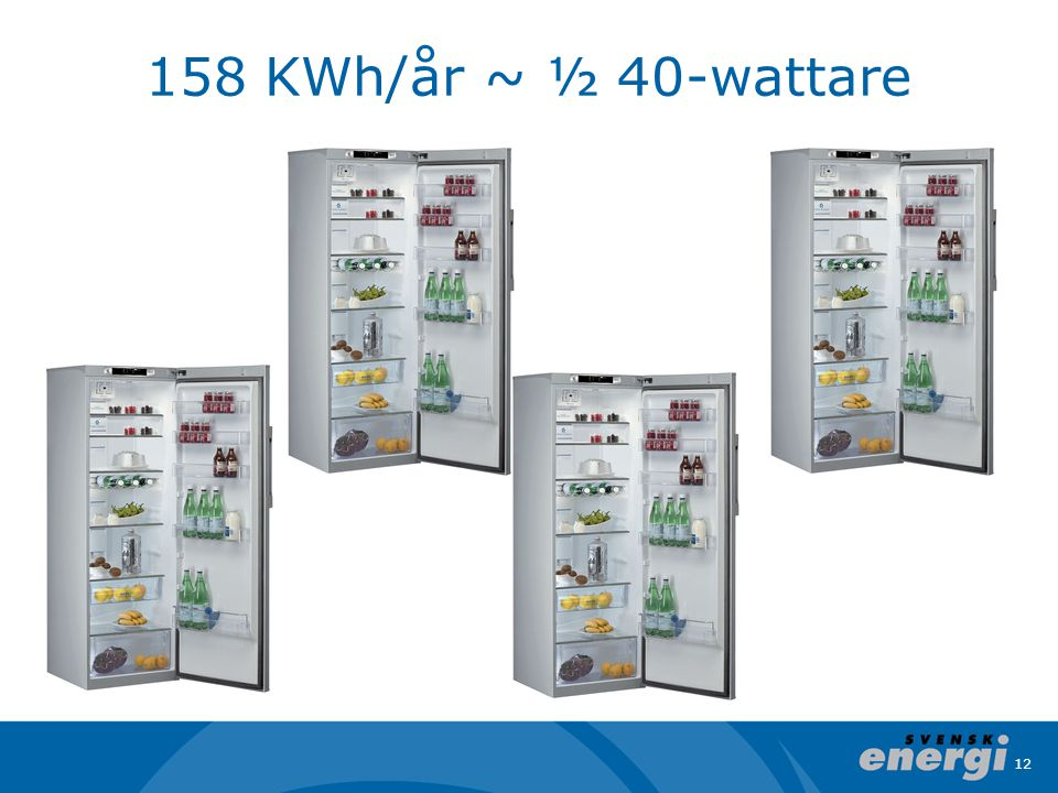 158 KWh/år ~ ½ 40-wattare