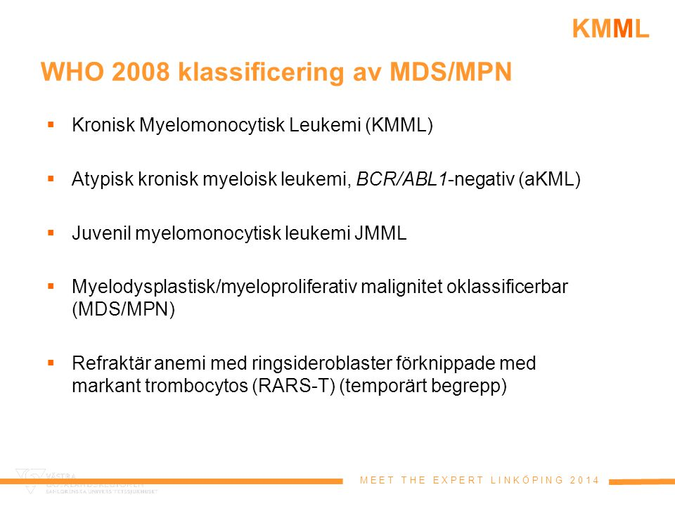 WHO 2008 klassificering av MDS/MPN