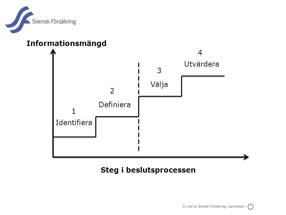 Informationsmängd 4 Utvärdera 3 Välja 2 Definiera 1 Identifiera Steg i beslutsprocessen