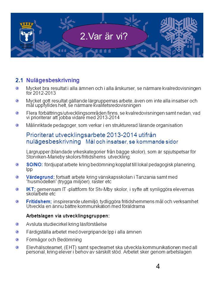 2.Var är vi 2.1 Nulägesbeskrivning. Mycket bra resultat i alla ämnen och i alla årskurser, se närmare kvalredovisningen för 2012-2013.