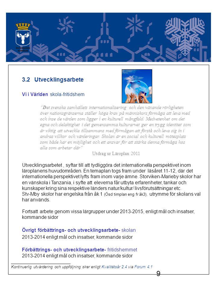 3.2 Utvecklingsarbete Vi i Världen skola-fritidshem. Det svenska samhällets internationalisering och den växande rörligheten.