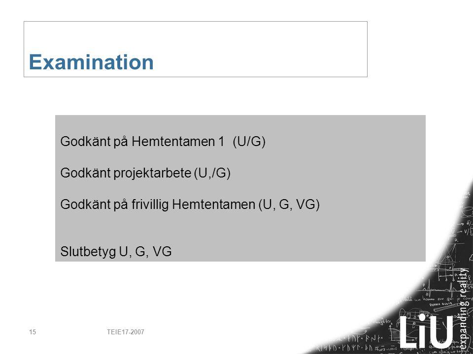 Examination Godkänt på Hemtentamen 1 (U/G)