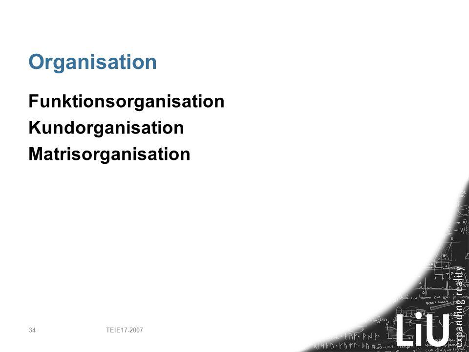 Organisation Funktionsorganisation Kundorganisation Matrisorganisation
