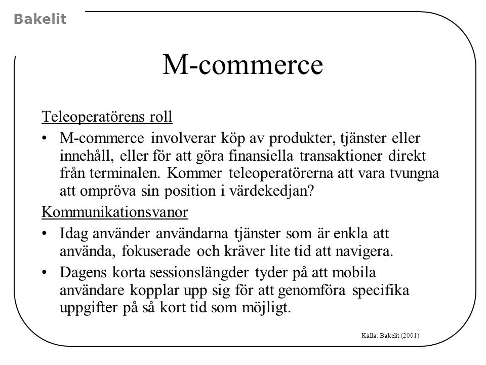 M-commerce Teleoperatörens roll