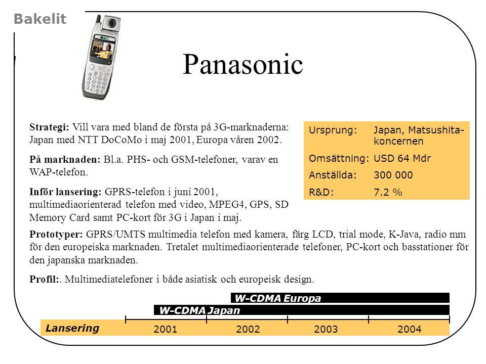 Bakelit Panasonic. Strategi: Vill vara med bland de första på 3G-marknaderna: Japan med NTT DoCoMo i maj 2001, Europa våren 2002.