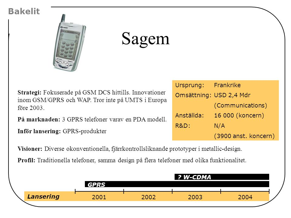 Bakelit Sagem. Ursprung: Frankrike. Omsättning: USD 2,4 Mdr. (Communications) Anställda: 16 000 (koncern)