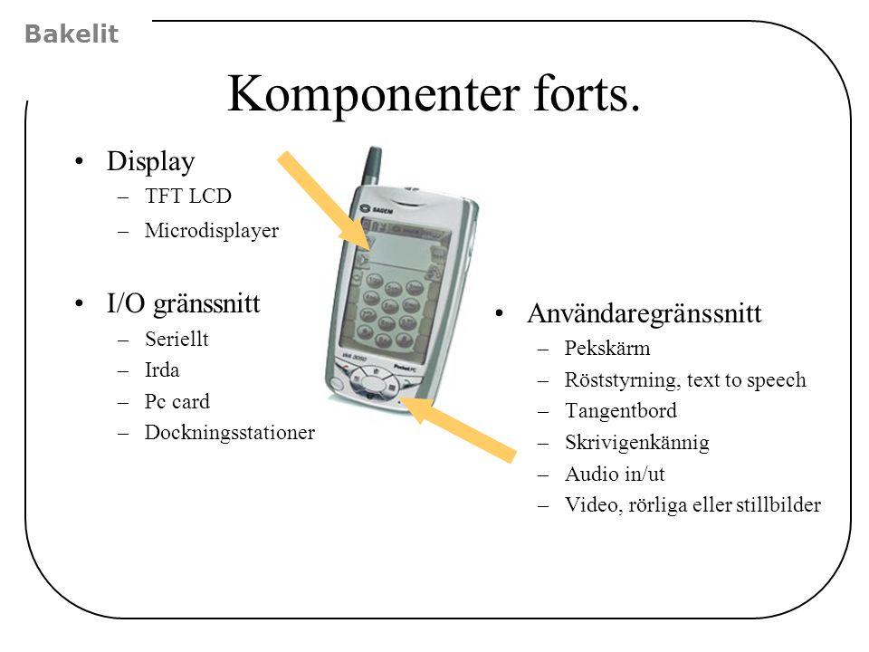 Komponenter forts. Display I/O gränssnitt Användaregränssnitt Bakelit