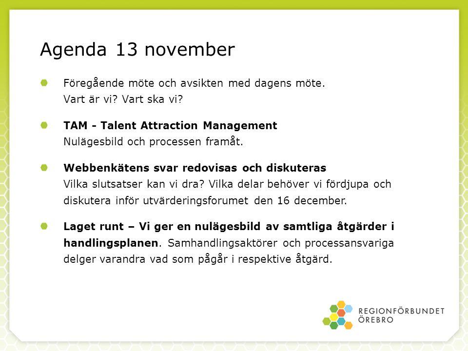 Agenda 13 november Föregående möte och avsikten med dagens möte. Vart är vi Vart ska vi