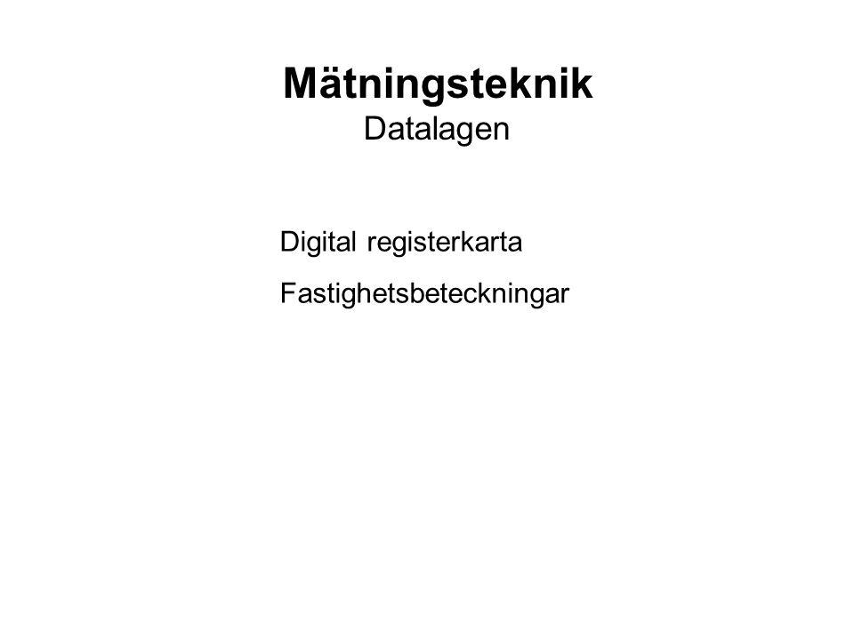 Mätningsteknik Datalagen Digital registerkarta Fastighetsbeteckningar