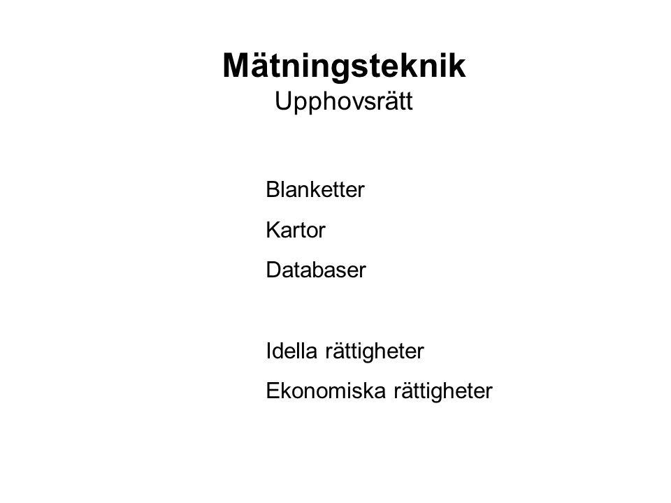 Mätningsteknik Upphovsrätt Blanketter Kartor Databaser