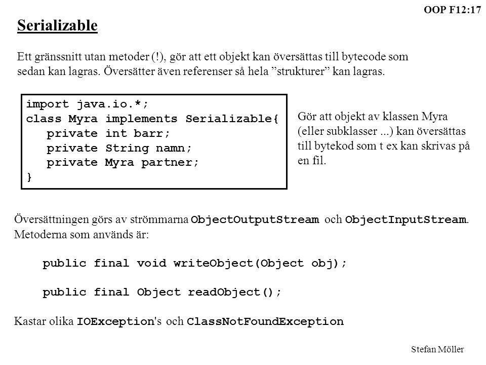 Serializable Ett gränssnitt utan metoder (!), gör att ett objekt kan översättas till bytecode som.