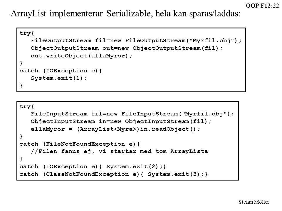 ArrayList implementerar Serializable, hela kan sparas/laddas:
