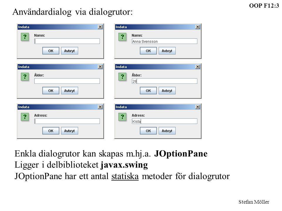 Användardialog via dialogrutor: