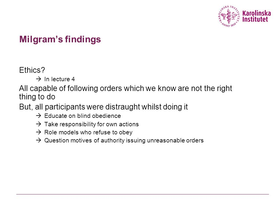 Milgram's findings Ethics