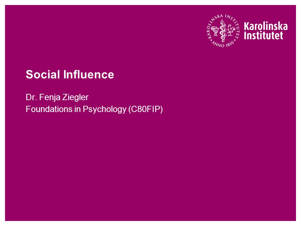 Dr. Fenja Ziegler Foundations in Psychology (C80FIP)