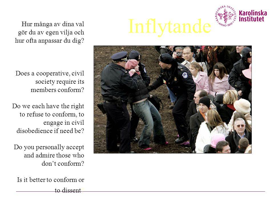 Inflytande Hur många av dina val gör du av egen vilja och hur ofta anpassar du dig Does a cooperative, civil society require its members conform