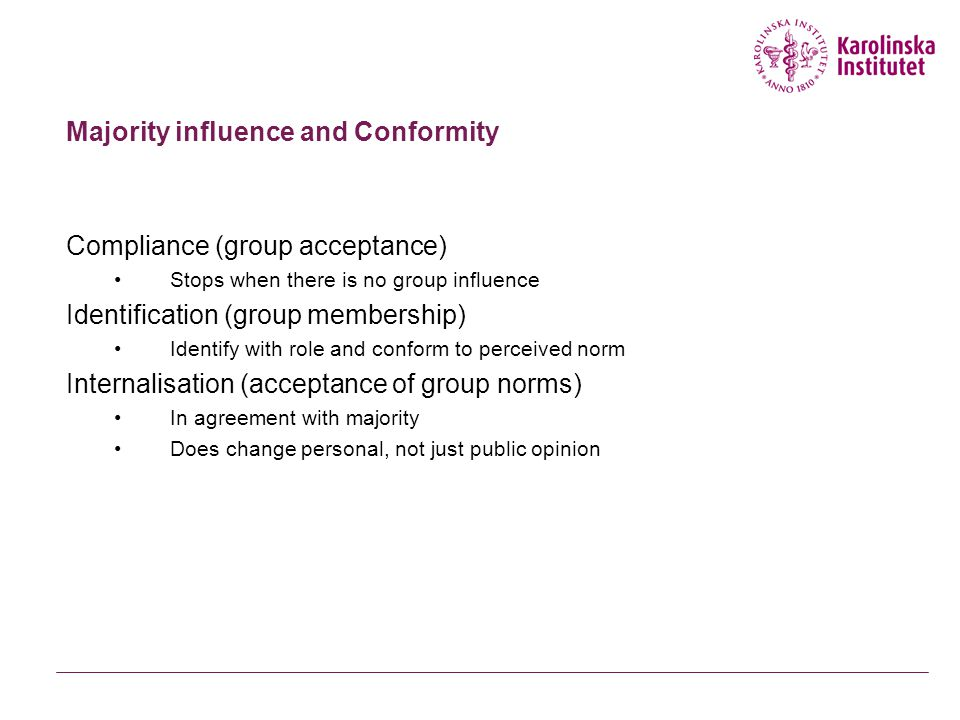 Majority influence and Conformity