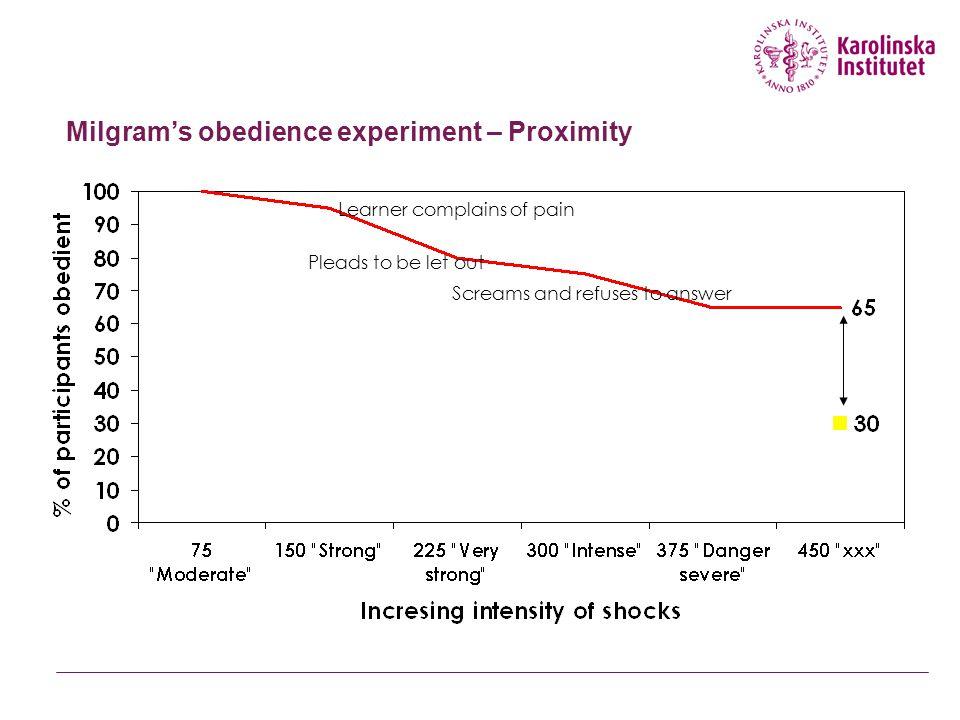 Milgram's obedience experiment – Proximity