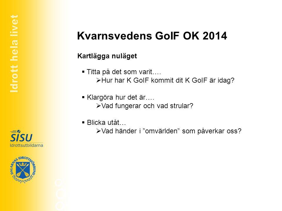 Kvarnsvedens GoIF OK 2014 Kartlägga nuläget Titta på det som varit….