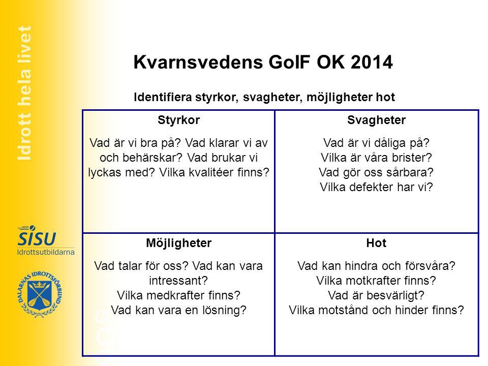 Idrott hela livet Kvarnsvedens GoIF OK 2014. Identifiera styrkor, svagheter, möjligheter hot. Styrkor.