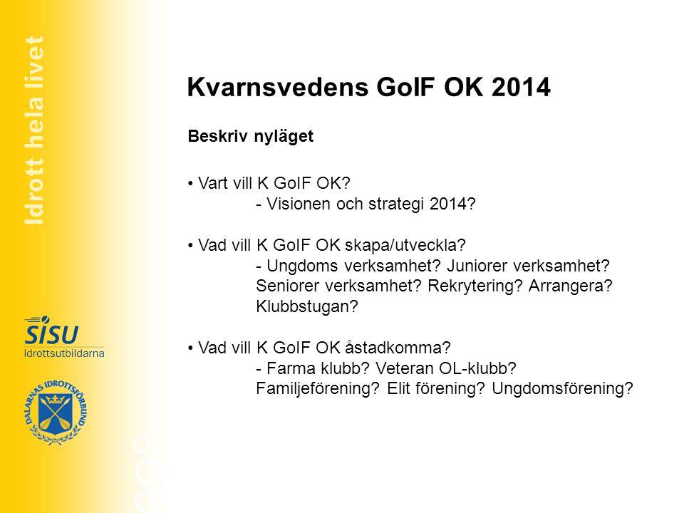 Kvarnsvedens GoIF OK 2014 Beskriv nyläget Vart vill K GoIF OK