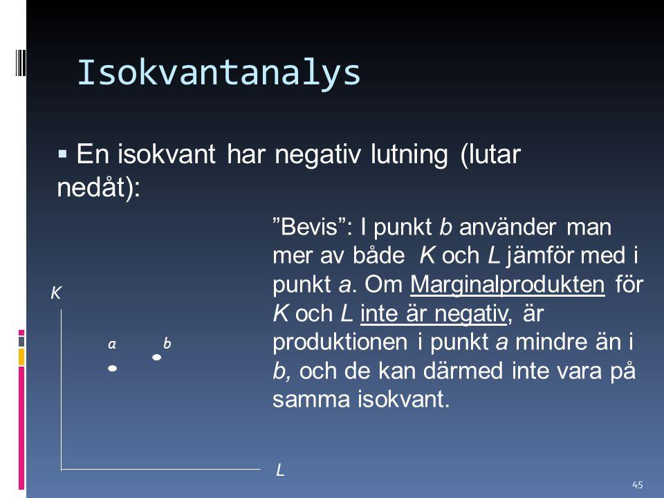 Isokvantanalys En isokvant har negativ lutning (lutar nedåt):