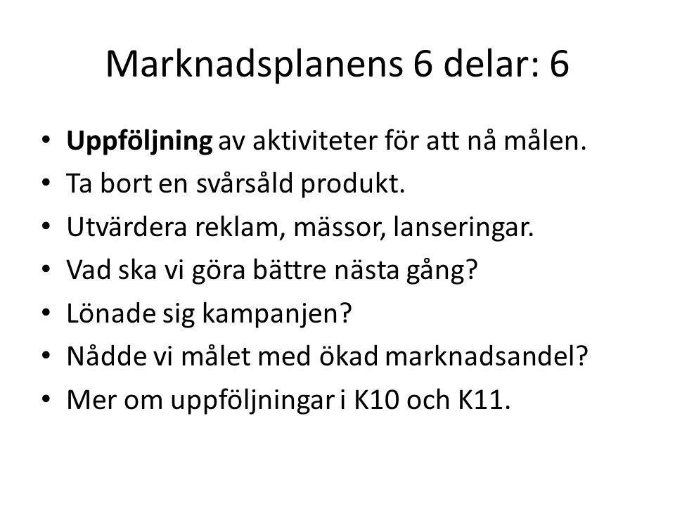 Marknadsplanens 6 delar: 6