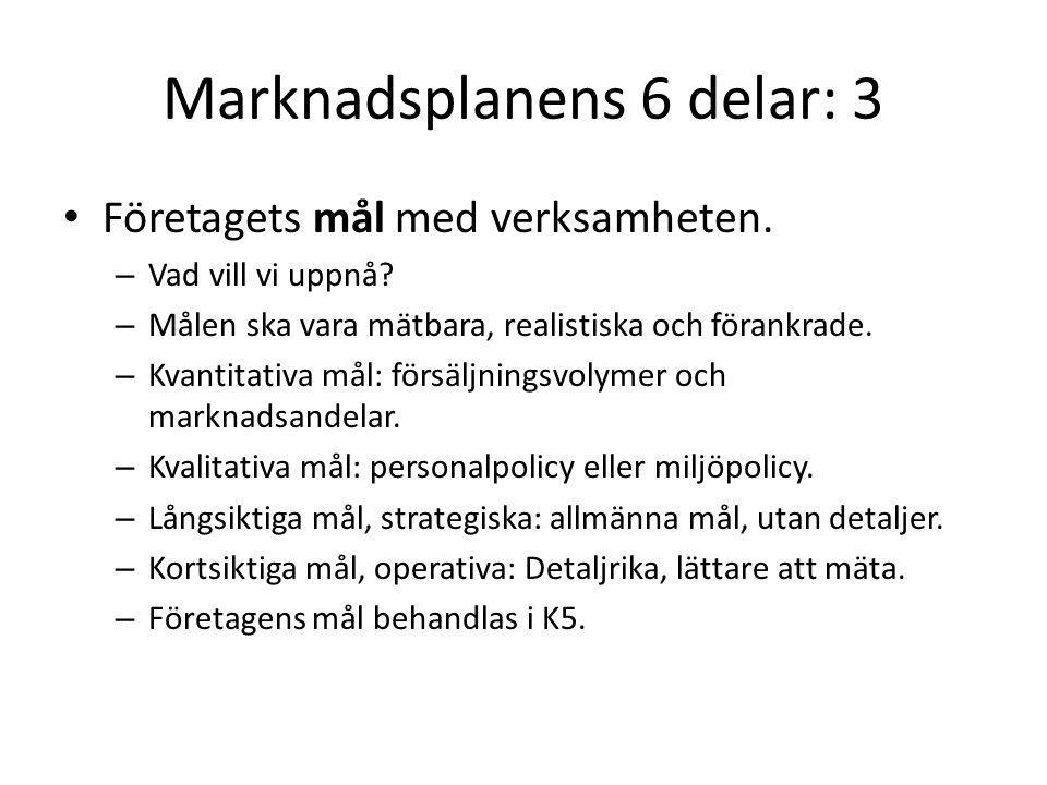 Marknadsplanens 6 delar: 3