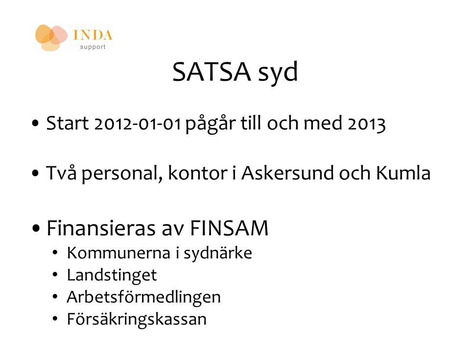 SATSA syd Finansieras av FINSAM