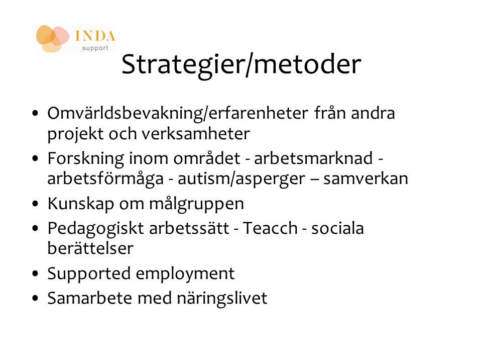 Strategier/metoder Omvärldsbevakning/erfarenheter från andra projekt och verksamheter.