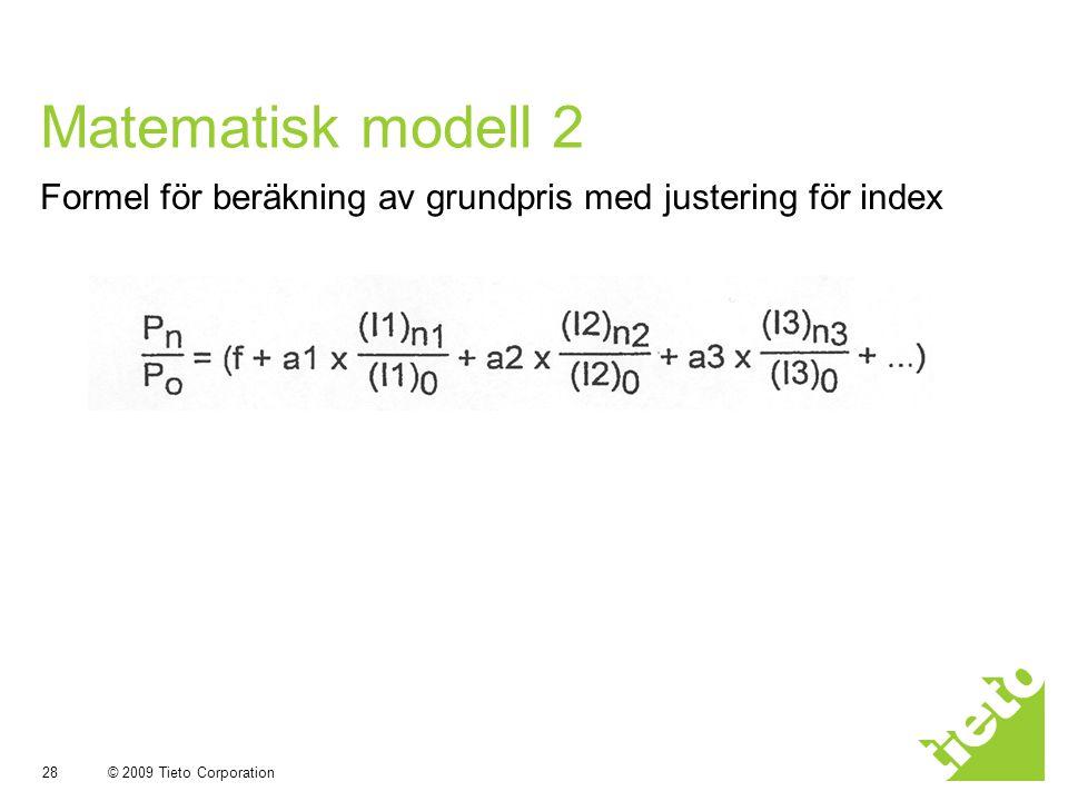 Matematisk modell 2 Formel för beräkning av grundpris med justering för index