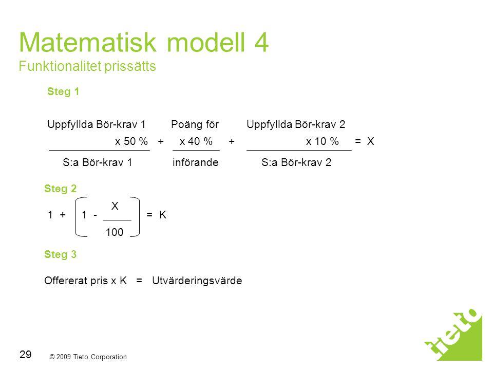 Matematisk modell 4 Funktionalitet prissätts