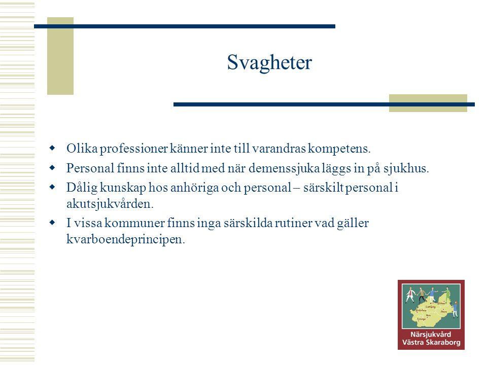 Svagheter Olika professioner känner inte till varandras kompetens.