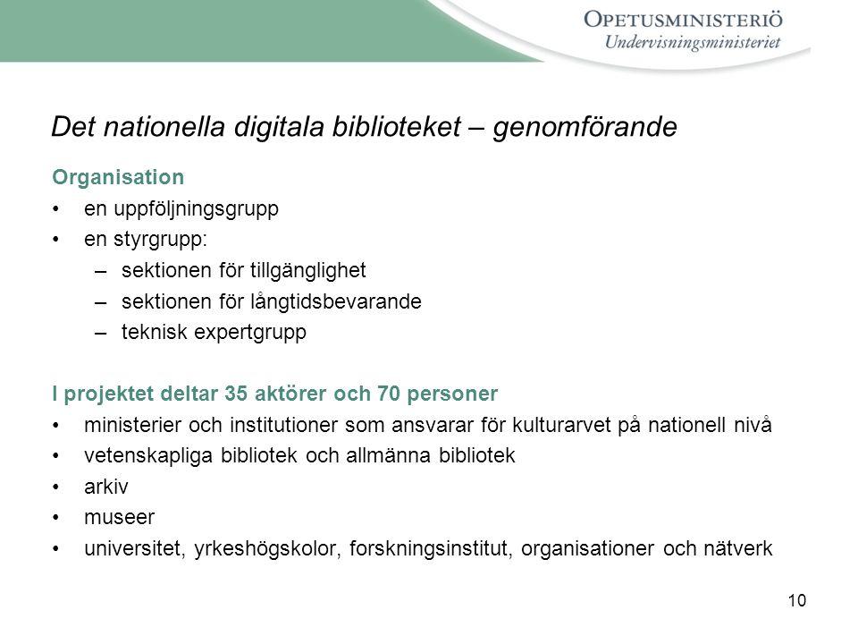 Det nationella digitala biblioteket – genomförande
