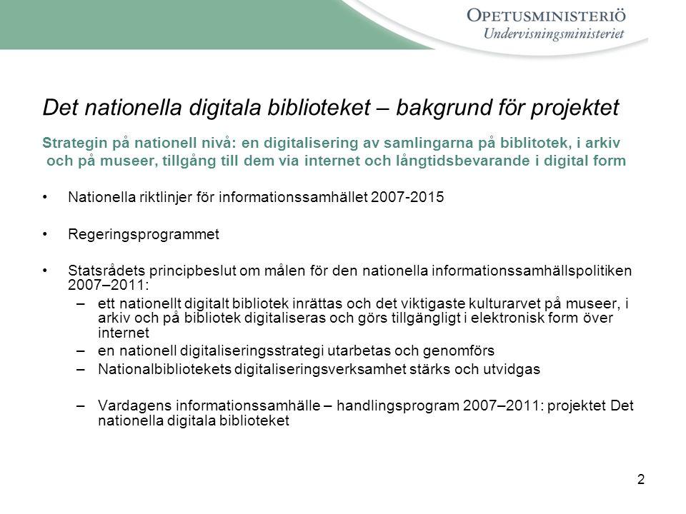 Det nationella digitala biblioteket – bakgrund för projektet