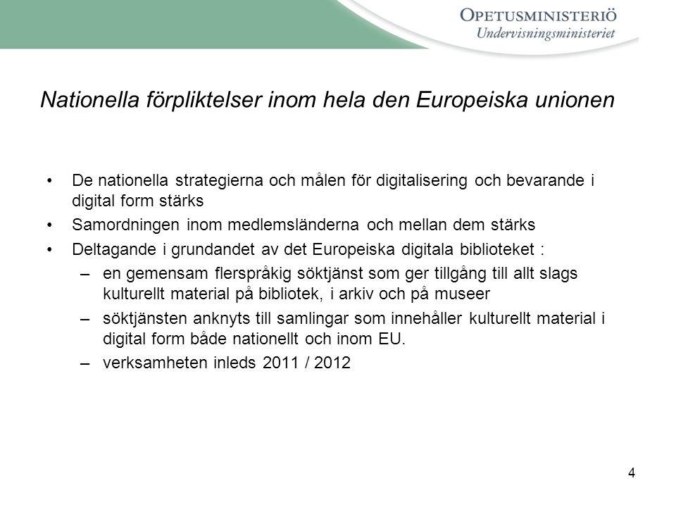 Nationella förpliktelser inom hela den Europeiska unionen